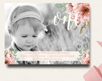 Boho Flower Girls Photo Card First Birthday Rustic Floral Watercolor Invitation Natural