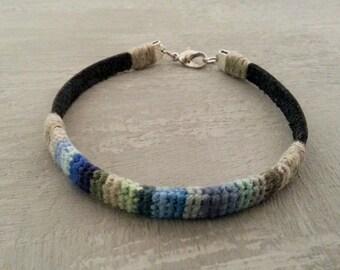 8 in Mens Crochet Leather Bracelet, Mens Bracelet, Linen Leather Bracelet For Men, Blue Green Bracelet, Ribbon Men Bracelet, Gift For Men
