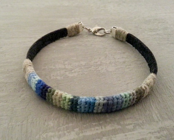 8 in Mens Crochet Leather Bracelet, Mens Bracelet, Linen Leather Bracelet For Men, Blue Green Bracelet, Ribbon Men Bracelet, Gift For Men
