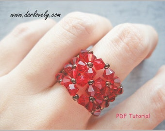 Beaded Ring Pattern - Red Flowers Cuff Ring (RG124) - Beading Jewelry PDF Tutorial (Instant Download)