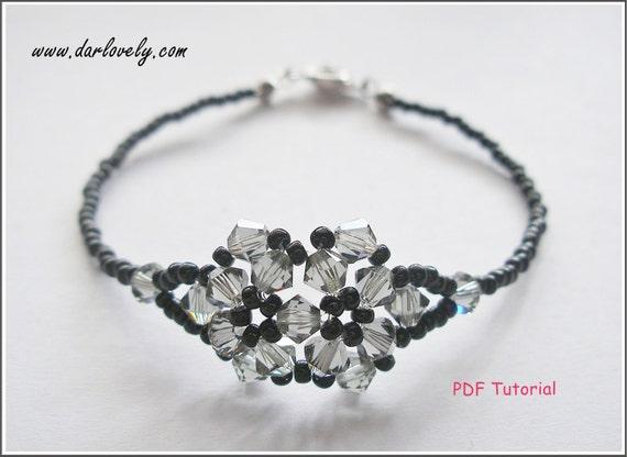 Beaded Bracelet Pattern - Black Diamond Twin Flower Bracelet (BB007) - Beading Jewelry PDF Tutorial (Instant Download)