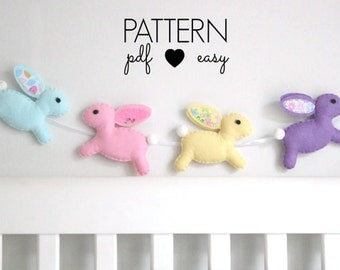Felt Bunny Rabbit Easter Pattern - Easter Ornament Felt Sewing Pattern - Bunny Sewing Pattern - Rabbit Sewing Pattern - Bunting