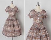 vintage 1950s dress / 50s folk dress / novelty print dress / Lancaster Field dress