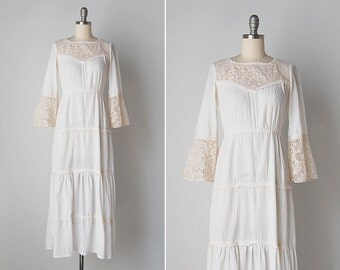 vintage 1970s dress / 70s cotton gauze dress / white gauze dress / Willow Glen dress