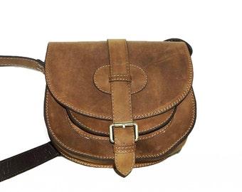 Rustic Leather Saddle Bag // Cross body bag // Messenger Goldmann S in antic tan