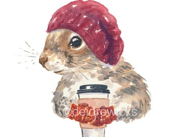 Squirrel PRINT - Watercolor PRINT, Fox Squirrel, Coffee Squirrel, 5x7 Illustration, Cute Squirrel