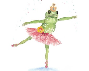 Ballerina Watercolor - Frog Watercolor PRINT - 11x14 illustration Print, Ballet, Nursery Art