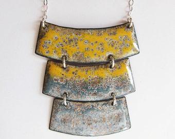 Big geometric bib necklace Modern yellow and gray enamel pendant Bohemian statement jewelry One of a kind artisan jewelry