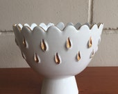 Mid century italian gold and white compote.