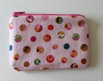 Japanese Kawaii Sweet Treats Zip Pouch - Small Zip Pouch Coin Purse Wallet - Made from Japanese import fabric