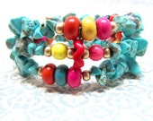 Turquoise Rainbow Memory Wire Bracelet, Bright Colorful Circus Bohemian Candy Semi-precious Turquoise Beaded Memory Wire Wrap Bracelet
