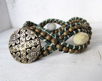 Antiqued Gold Rustic Green Leather Twisted Cuff Bracelet, Dark Green Leather Wrap Bracelet Cream, Brown, and Green Cuff Bracelet