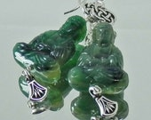 Vintage Serpentine Green Buddha, Lotus Drop and Chinese Knot Sterling Silver Earrings