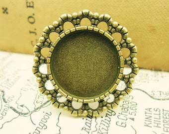 8 x Antique Bronze Tone Adjustable Rings - With The Glass Domes - 16mm