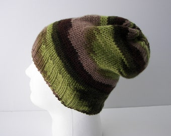 UNIQUE Hand Knit 100% WOOL Slouchy Beanie Hat in Green Brown / Hunter Knit Hat