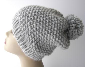 Super Warm, SOFT Chunky Pom Pom Beanie Ski Hat Hand Knit in Silver Grey Wool blend