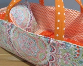 Doll Carrier, Bitty Baby Size, Colorful with Orange Lining