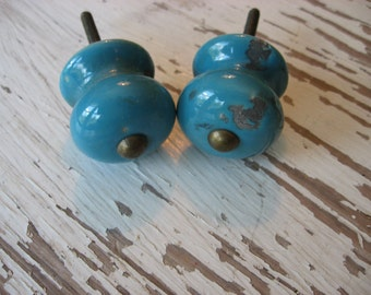 2 Blue Ceramic Distressed Knobs Rustic Style Brass Stud Hardware for Drawers or Cabinet B-29 Last Set