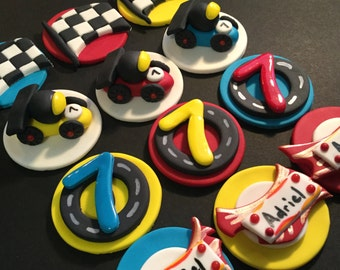 Race Cars Fondant Cupcake, Cake, Cookie Toppers. Set of 12 (one dozen)