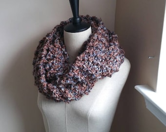 Chunky Infinity Scarf - Earth Tones with Gray-Blue - Outlander