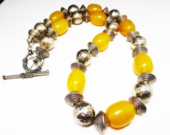 Copal Amber & Sterling Silver Necklace and Earring Set - Yellow and Silver - Modernist Silver Beads - Pierced Earrings