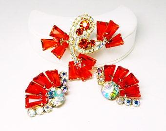 D & E Juliana Orange Brooch Earrings Set - Orange and Aurora Borealis Rhinestones - Fan shaped earrings - Flower Brooch - Delizza and Elster