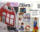 Lot of 2 Craft Patterns ~ Moda Flats Doll House and McCall's 620 Doll Carry Bag with Stuffed Bunny or Bear Dolls and Clothes UNCUT