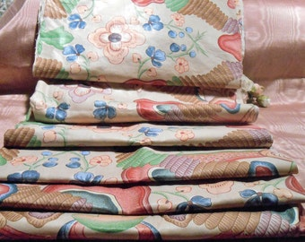 Vintage Fabric Cotton Fabric Remnant Lot Whimsical Craft Supply
