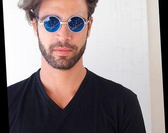 round Retro Victorian sunglasses spectacles silver blue lens Hi Tek small Ozzy Osbourne style