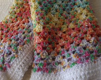 Crocheted Classic Style Granny Square Baby Blanket in Orange Yellow Blue White Pink Purple