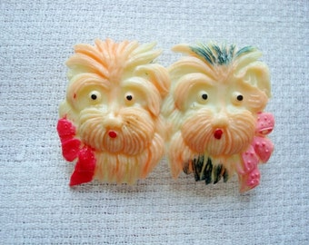 Vintage Celluloid Scottie Dogs Terriers Pin Occupied Japan