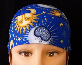 Blue Handmade Skull Cap, Chemo Cap, Surgical Cap, Hat, Helmet Liner, Do Rag, Alopecia, Head Wrap, Motorcycle, Hair Loss, Suns, Stars, Moons