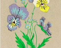20 PANSIES with Forget-Me-Knots Wild Flowers (Small) Craft Jewellery Decoration DECALS Transfers Unique Retro hand-drawn (Silk Screened)