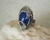 Lapis Scarab Ring, victorian jewelry edwardian jewelry art deco jewelry steampunk art nouveau gothic neo victorian bohemian lapis jewelry