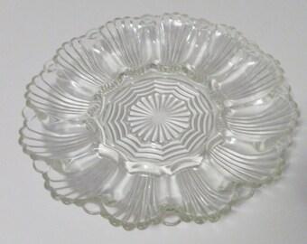 Anchor Hocking Clear Pressed Glass Devil Egg Dish Plate Platter Shell Design Holds 12