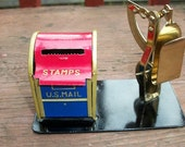 Vintage Adorable Mailbox and Scale Stamp Holder Container for Roll of Stamps Scale Office Decor