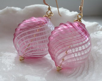 Murano Sculpted Blown Glass Earrings