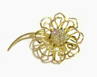 Sarah Coventry Brooch Vintage 1968 Allusion Flower Rhinestone Pin