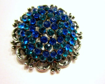"Vintage Dome Brooch Green Blue Rhinestone Brooch Vintage Pin 1 3/4"" Round Gift for Her Gift for Mom Gift Idea Under 25"