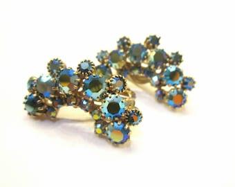 Rhinestone Weiss Earrings Green Blue Clip Vintage Signed Earrings