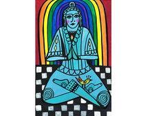 New original. Connection by Heather Galler  Folk Art  Spiritual Enlightenment  Buddha Zen  Bird Meditation