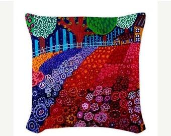 40% Off - Landscape Art Pillow -  - Throw Pillow - Folk Art by Heather Galler