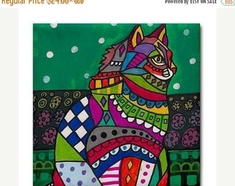 55% Off- White Cat Folk art Tile Ceramic Coaster Mexican Folk Art Print of painting by Heather Galler
