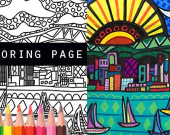 san diego california skyline city coloring book pages adult coloring cityscape printable instant download - Dental Anatomy Coloring Book