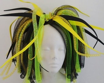 Cyberlox Yellow and Black Medium length Pigtail Falls Cybergoth Cyberpunk Neon Cyber Goth Punk Dreads Synth Wig Tie In Cyberpop