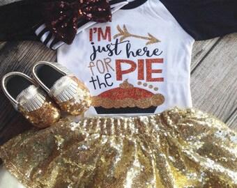 Girls Thanksgiving Shirt Sparkliest Holiday Shirt Pumpkin Pie I'm Just here for the Pie Shirt Glitter Shirt  Sparkle Glitter Shirt Sparkle