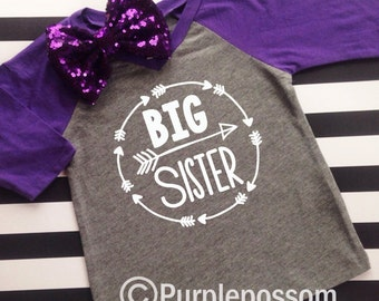 Big Sister Shirt Little Sister Shirt Custom Shirt Sibling Shirts Sister Shirts Pregnancy Announcement Baby Announcement Shirt