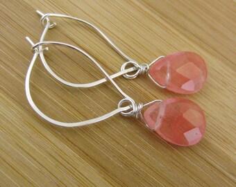Cherry Quartz Earrings. Pink Gemstone Hoops. Sterling Silver Wire Wrapped Briolette Earrings. Pink Earrings. October Birthstone. Leaf Hoops.