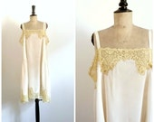 Antique 1920s Summer Dress Nuisette Below Dress Cream Silk and Malines Lace / Slip Dress / Silk Lingerie 20s / Medium to Large