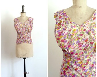 Antique Circa 1930s Blooming Silk Crepe Camisole Top Tank Back Cotton / Large to Extra Large